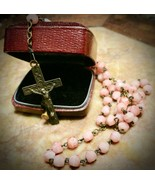 Antique DELICATE Pink Faceted Slag Glass Childs Rosary France DE LOURDES  - $29.99