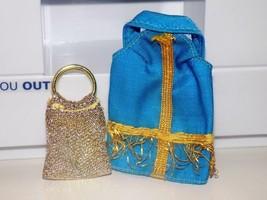Barbie Dress up accessories Gold Handbag Purse Little Kelly Gold and Blu... - $4.99
