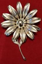 "Vintage Silver Toned Daisy Metal Brooch W/Stem 1960's  3 1/2"" - $27.12"