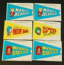 Lot of 6 1967 Topps Krazy Sticker Pennants: Navel Academy, Michigan Stat... - $74.25
