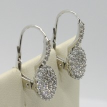 18K WHITE GOLD LEVERBACK EARRINGS, CIRCLE ZIRCONIA DISC LENGTH 20 MM, ITALY MADE image 2