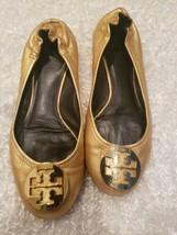 TORY BURCH Reva Classic Slip On Ballet Flats Gold Metallic Logo Size 8.5 - $65.44