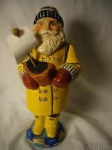Vaillancourt Folk Art Sea Coast Santa in Yellow Slicker Holding Boat Signed image 1