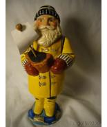 Vaillancourt Folk Art Sea Coast Santa in Yellow Slicker Holding Boat Signed - $279.99