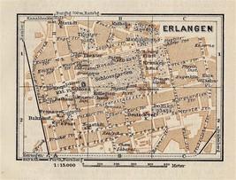 1910 ANTIQUE CITY MAP OF ERLANGEN / BAVARIA BAYERN / GERMANY - $13.86
