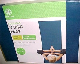 "Gaiam Foldable Ultra-Lightweight Yoga Mat 68"" x 24"" x 2mm Blue New - $21.77"