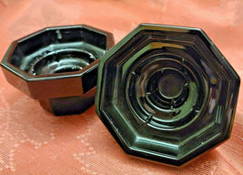 2 Vtg Black Octagonal Glass Candle Holders Made in France image 5