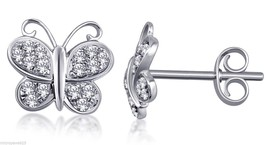 White Cubic Zirconia With Pave Set Butterfly Stud Earrings Sterling Silv... - $33.24