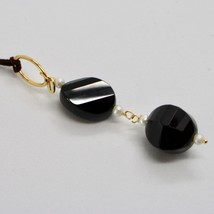 SOLID 18K YELLOW GOLD PENDANT WITH WHITE FW PEARL AND BLACK ONYX MADE IN ITALY image 2