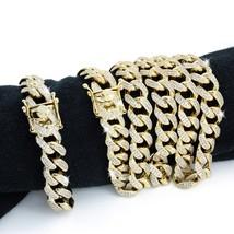 Mens Cuban Miami Link Bracelet & Chain Set  14k Gold Plated 26ct VVS Dia... - $212.84