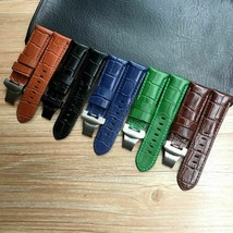 24mm Crocodile Pattern Genuine Leather Watchband For Panerai PAM441 Buckle Strap - $30.70+