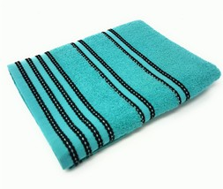 4 X STRIPED BRIGHT 100% COMBED COTTON SOFT ABSORBANT TURQUOISE BLUE HAND... - $15.84