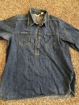 Vintage Levis Pantella 1/2 Button Denim Shirt XL Very Cool Shirt! 1970's? - £75.70 GBP