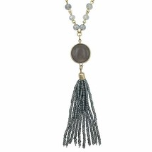 Long Glass Beaded Tassel Fringe Boutique Style Necklace (Grey with Stone) - $28.05