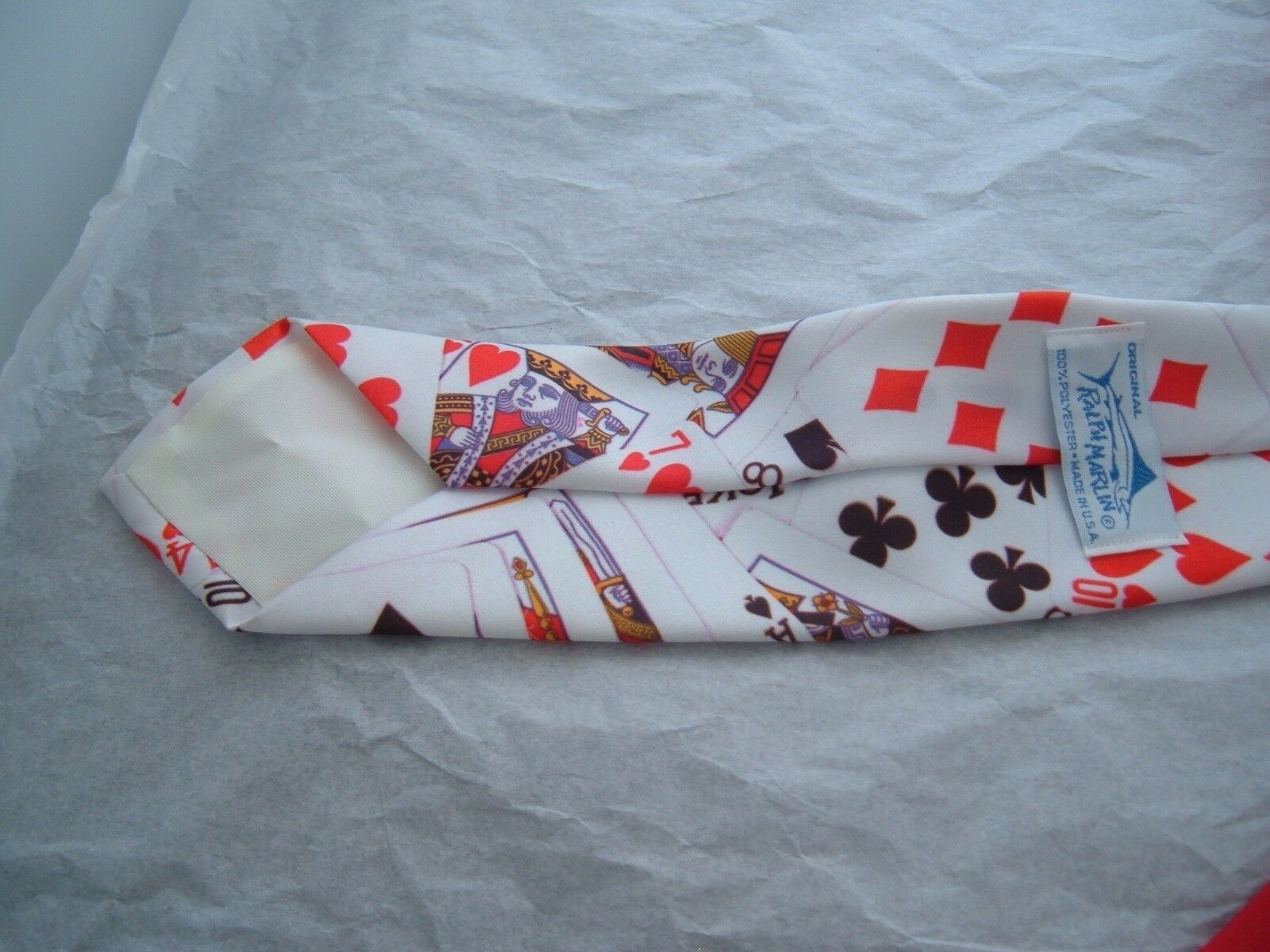 "Ralph Marlin Poker Cards Mens Neck Tie 56"" Gambler Vintage 1991 polyester image 4"