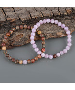 Couple Bracelet, Leopard Jasper & Kunzite Gemstone 6 MM Beads Stretch Bracelet. - $25.99 - $29.99