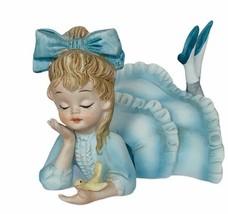 Lefton figurine vtg japan porcelain sculpture gift RARE blue dress bow b... - $74.25