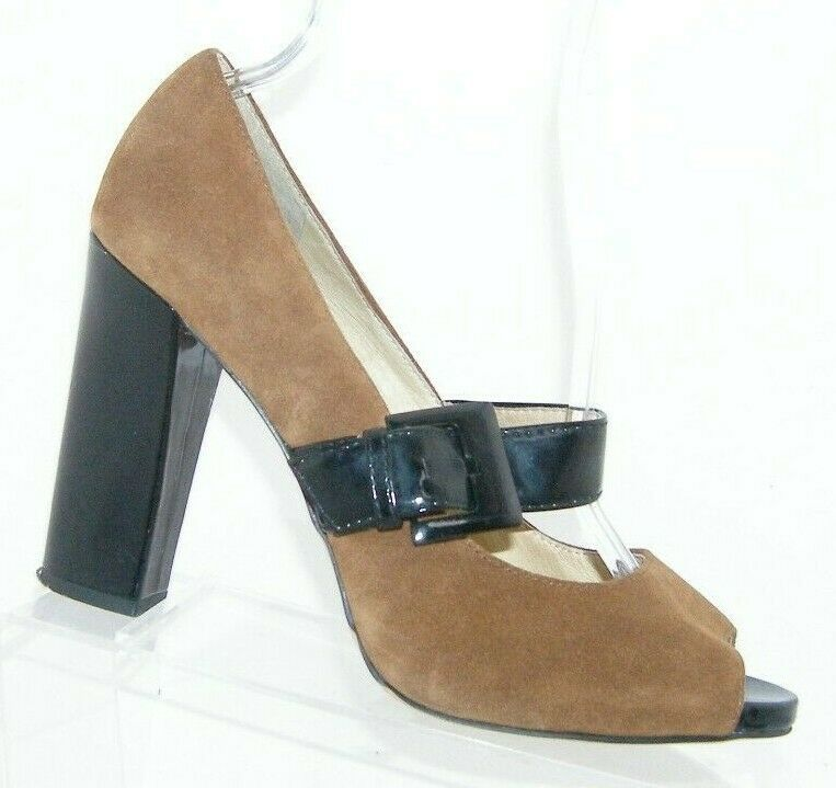 Primary image for Michael Kors brown suede buckle mary jane peep platform block heels 9.5M