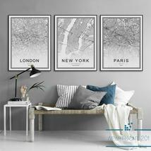 Monochrome Canvas Home Decor World City Maps - $14.75+