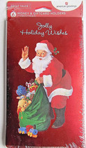 Jolly Holiday Wishes w/ Santa  6 Christmas Money Gift Card Holders & Env... - $4.99