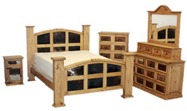 Honey Rustic Bedroom Set Real Wood Real Cowhide King Queen Western Cabin... - $3,104.15+