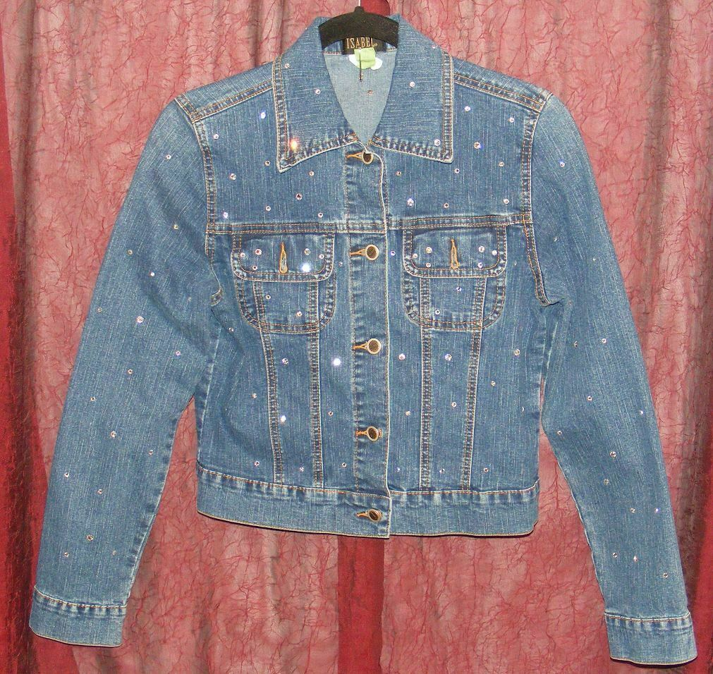 Primary image for ISABEL WOMEN'S DENIM JACKET WITH CLEAR RHINESTONES SIZE S GUC