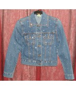 ISABEL WOMEN'S DENIM JACKET WITH CLEAR RHINESTONES SIZE S GUC - $29.99