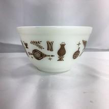 Vintage Pyrex Early American Nesting Bowl White Brown 1-1/2 Pint Mixing 401 - $12.19