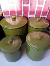 Mid Century Green Osawa Enamel Ware Canister set of 4 Made in Japan Vint... - $67.50