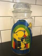 Vintage Peanuts Snoopy & Woodstock Goodies Snacks Cookie Jar Glass 1965 - $38.00