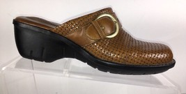 CLARKS Artisan Womens Clogs Mules Shoes Size 6.5 M Leather Basket Weave - $28.50