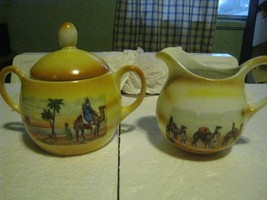 Eleanor Bavaria desert scene creamer & sugar limited wear to glaze FREE ... - $28.68