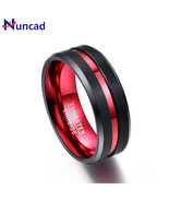 Nuncad Wide Never Fade Tungsten Steel Rings Single Groove Red Mens Engag... - $35.12