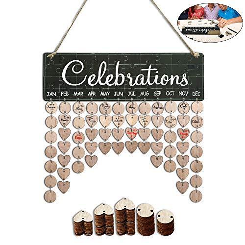 Family Birthday Calendar Tracker Board Plaque, DIY Wooden