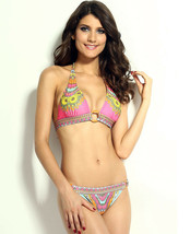 Pink Paisley Bikini Swimsuit Halter Large Floral Print 2 Piece Swimwear NEW - $18.99