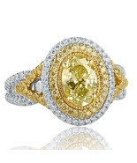 GIA Certified 1.76 Ct Oval Cut Yellow Chameleon Diamond Engagement Ring ... - $8,553.11