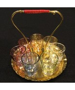 Mid Century Atomic Rainbow Cordial Apertif Shot 7 Glasses With Carrying ... - $54.45