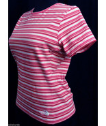 THE NORTH FACE Womens S t-Shirt top Vaporwick Volcanic Red NEW pink whit... - $29.00