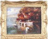 Framed Picture Village at Waterside w Boats pf1117 DOLLHOUSE Miniature