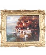 Framed Picture Village at Waterside w Boats pf1117 DOLLHOUSE Miniature - $7.94