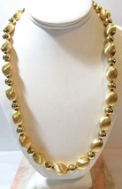 Bright Gold Tone Smooth And Textured Beaded Necklace Designer Signed N API Er - $38.00