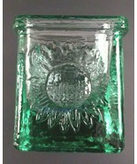 Small Square Green Glass Sun Candle Paperclip Holder Paperweight Home Decor - $25.36