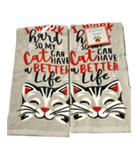 """Cat Lover Dish Towels 100% Cotton 15x25"""" New Gray Kitty New Set of 2 - $19.68"""