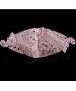 Vintage fancy rhinestone duette dress clip - silver fur clip brooch set ... - $125.00