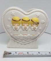 """Vintage Hallmark Bisque Cherub Figurine Floral VASE Valentine Angel Porcelain 4"""" - $14.89"""