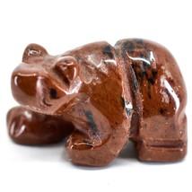 Red Black Obsidian Gemstone Tiny Miniature Bear Figurine Hand Carved China image 2