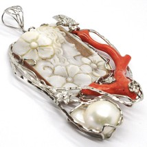 925 STERLING SILVER CAMEO CAMEO, WOMEN'S, BRANCH RED CORAL, FLOWERS, BUTTERFLY image 2