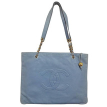 Vintage CHANEL milky blue calf leather extra large chain shoulder tote bag with  - $1,580.00