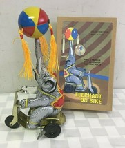 Vintage Style Circus Tin Elephant on Bike Wind Up - $18.23