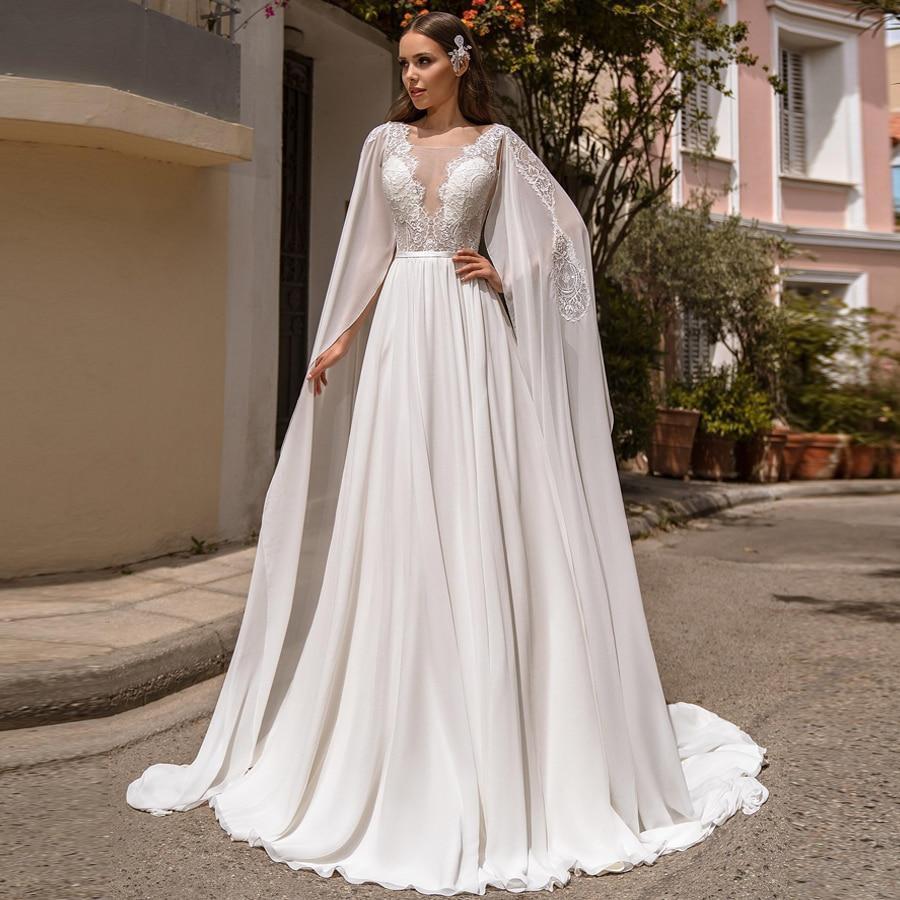 G dress detachable shoulder cape scoop sleeveless lace applique chiffon wedding gowns vestido de